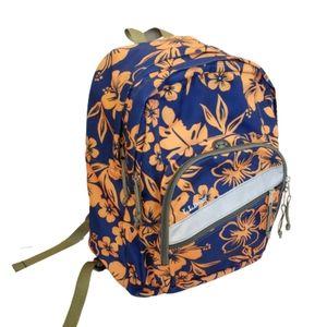 L.L. Bean Backpack Blue Orange Flowers Luau
